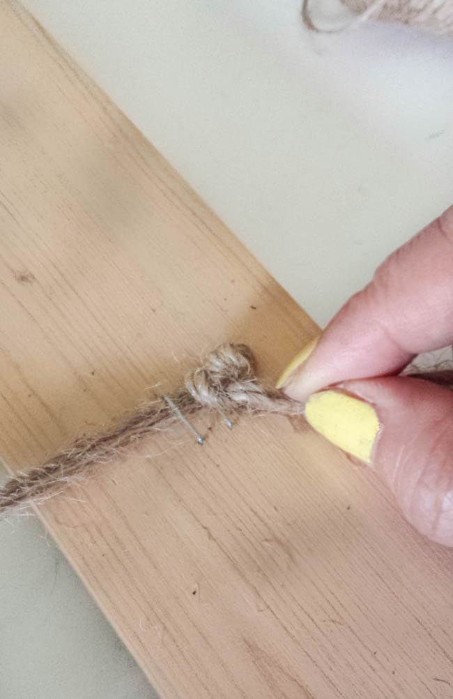 knot string for frame decor diy