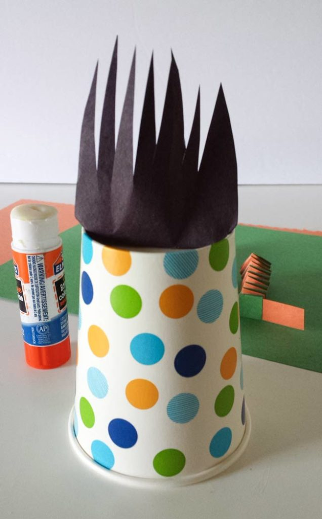 paste hair for paper cup craft