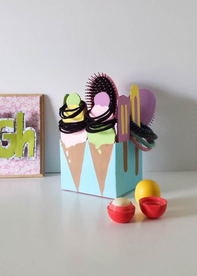 repurposed box hair tie organizer