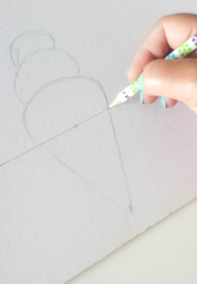 draw popsicles and ice cream on measure cardboard for hairband organizer diy