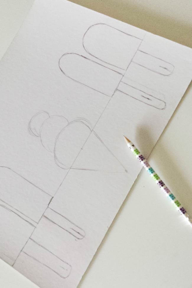 drawing for draw popsicles and ice cream on measure cardboard for hairband organizer diy
