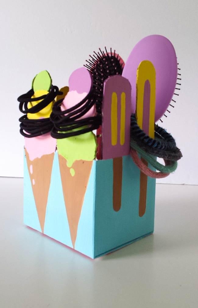 Hair tie organizer repurposes box