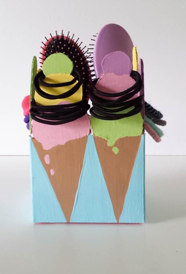 hair tie organizer repurposed box