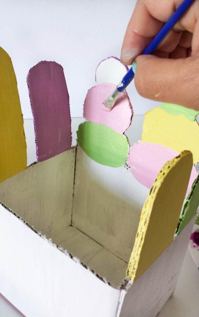 paint inside of repurpose box
