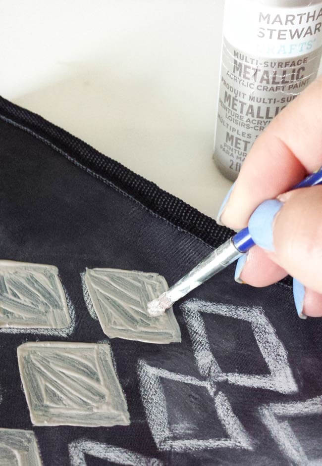 apply paint on lunch bag makeover