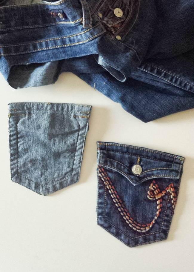 pocket of repurposed old jeans pocket
