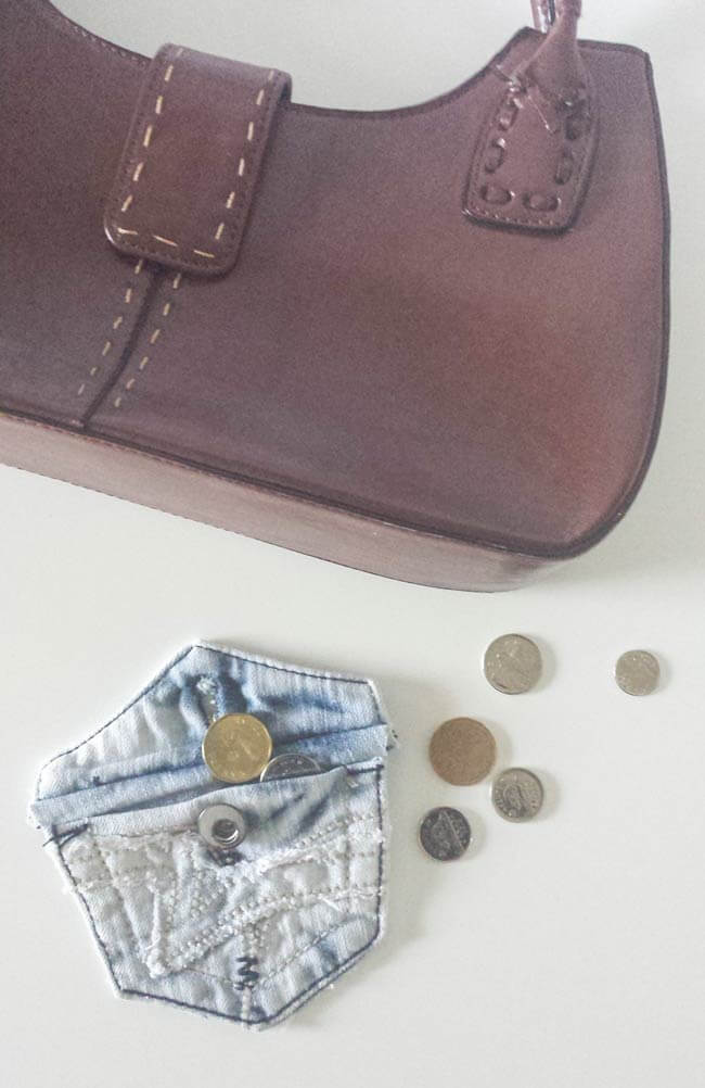 coin purse from repurposed old jeans pocket