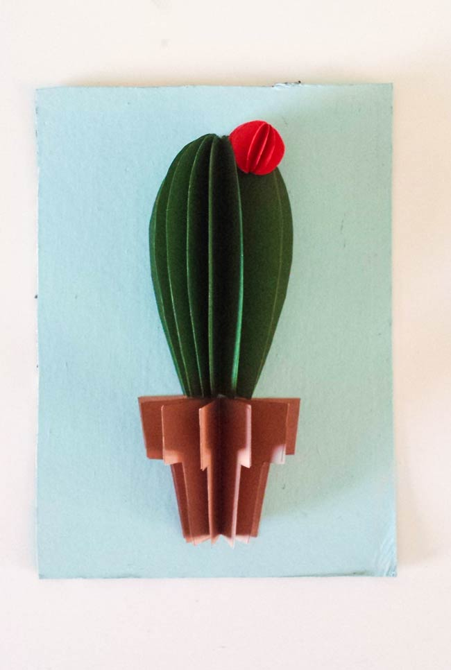 pasted paper on board of cactus wall art diy