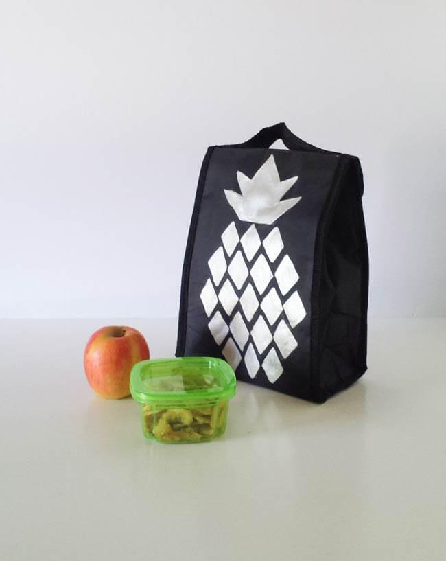 pineapple design on lunch bag makeover