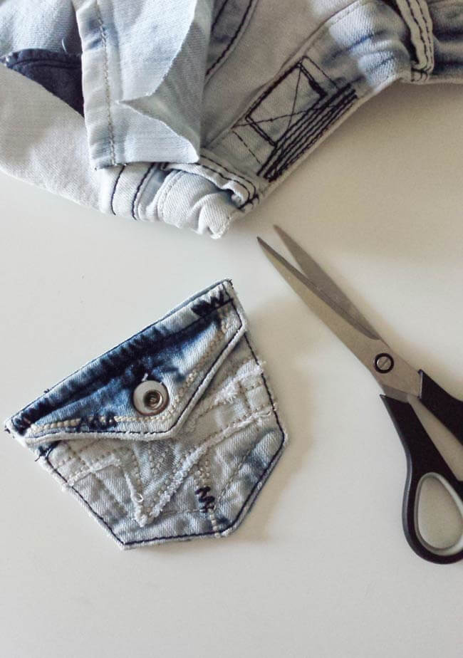pocket cut out of repurposed old jeans pocket