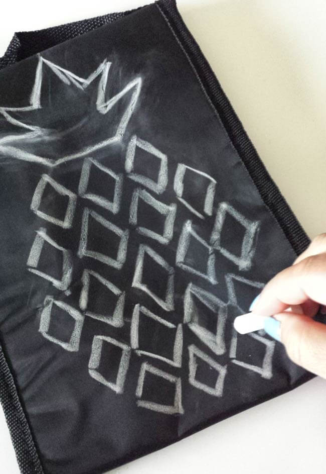 sketch with chalkstick lunch bag makeover