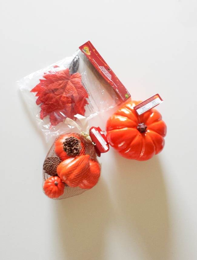 dollar store materials for fall and thanksgiving centerpiece