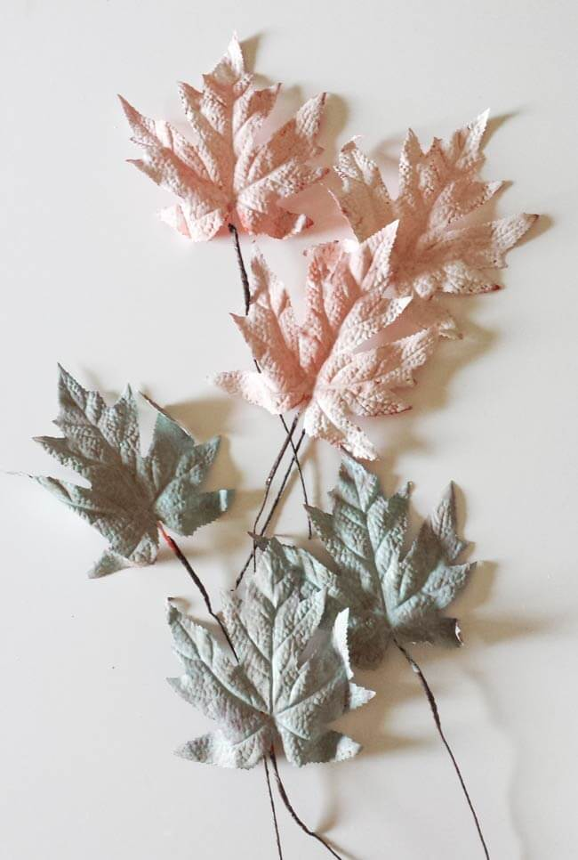 painted fall leaves for fall and thanksgiving centerpiece