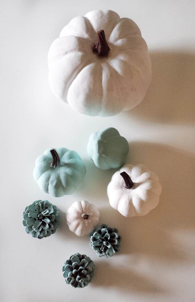 painted pumpkins for fall thanksgiving centerpiece