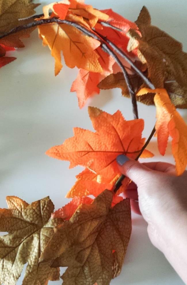 shape garland for fall wreath diy