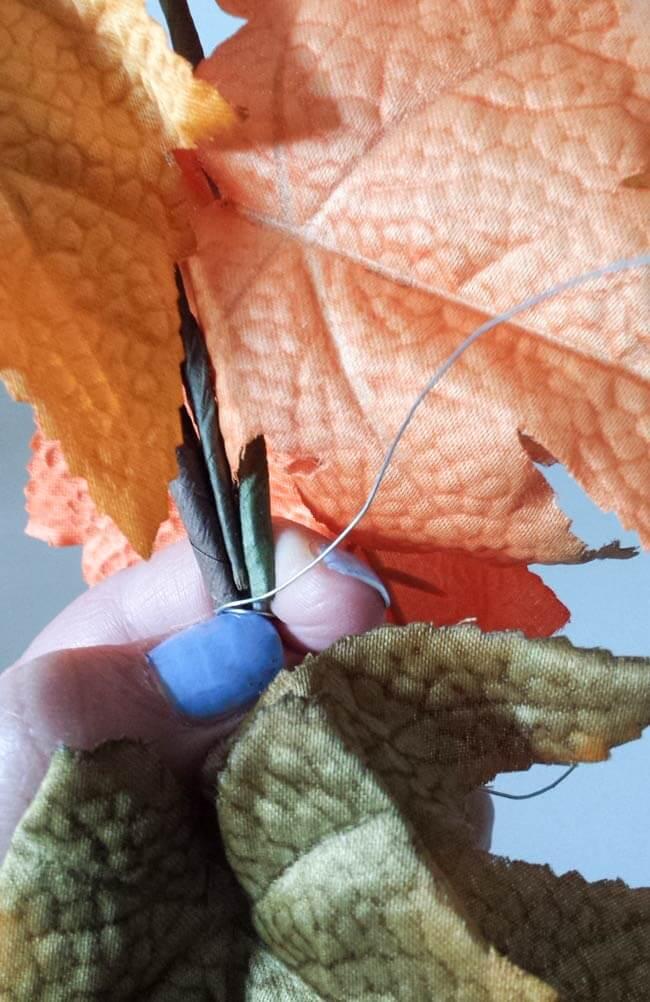 wrap wire on fall wreath diy