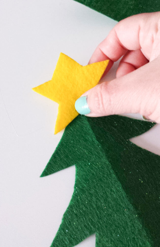 star cut out felt christmas tree