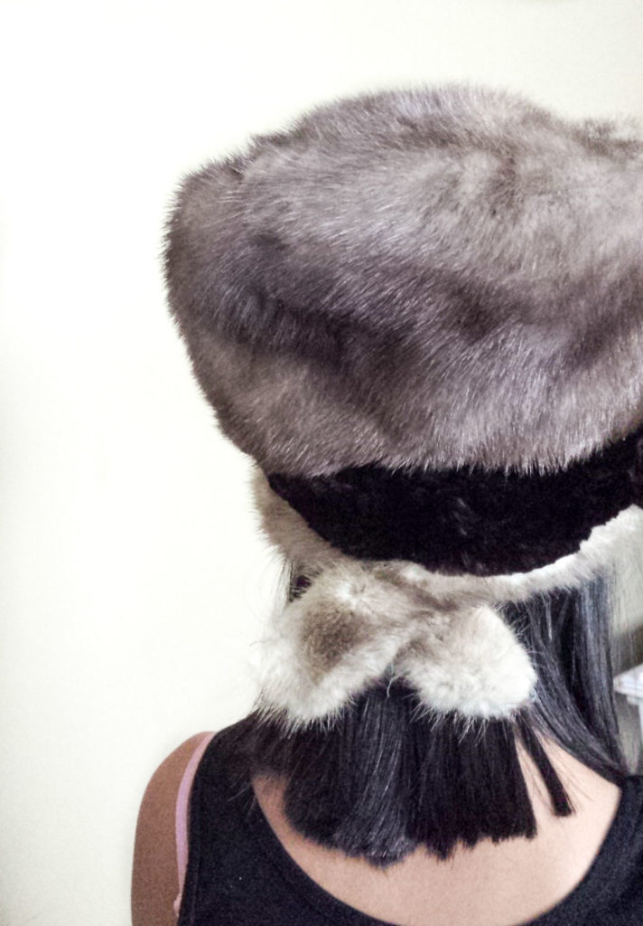 back of faux fur upcycled hat diy