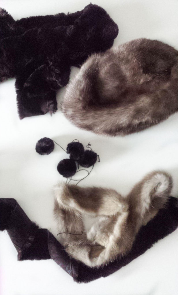 faux fur pieces for upccled hat