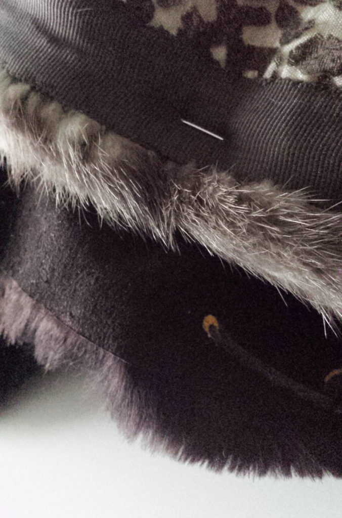 pin faux fur upcyced hat