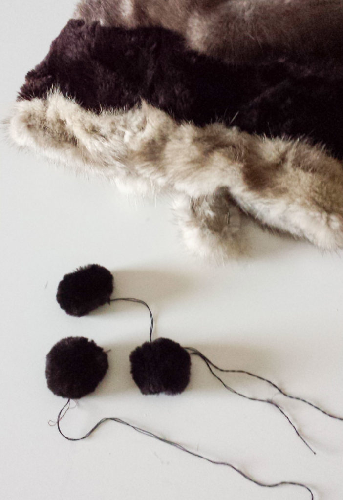 sew faux fur upcycled hat diy